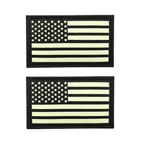 Baotu 2x3.5 Black Glow In Dark US USA American Flag Morale T