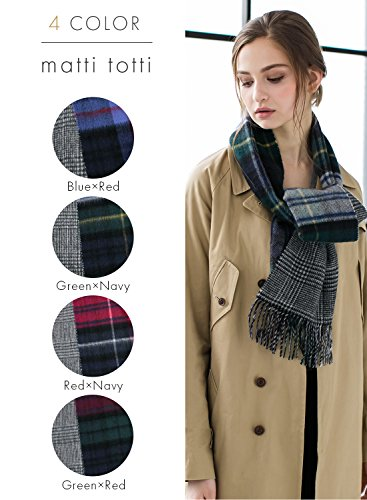 Green X Navy 100% Cashmere Reversible Scarf Muffler Women Gift Scarves Wrap Blanket C0211B1-2 by matti totti (Image #1)