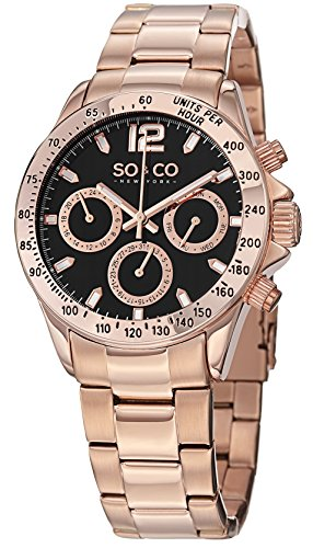 SO&CO New York Men's 5001.4 Monticello Quartz GMT Day and Date16K Rose Gold-Tone Link Bracelet Watch