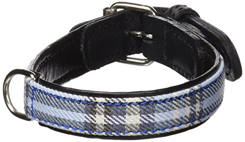 Petego La Cinopelca Cheri' Italian Leather Collar in Blue and Tartan Fabric, X-Small, 13 Inches