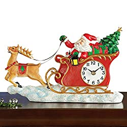 Collections Etc Santa in Sleigh Wall Clock Christmas Decoration
