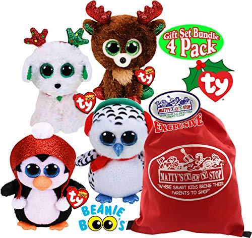 TY Beanie Boos Fudge (Reindeer), Nester (Owl), Gale (Penguin) & Sugar (Dog) Holiday Set Bundle with Bonus Matty's Toy Stop Drawstring Storage Bag - 4 Pack (Beanie Baby Dog Set)
