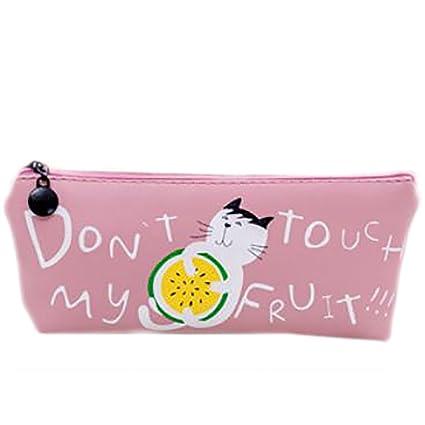 wicemoon frutas historia gatos estuche de piel papelería gran capacidad lápiz caso lápiz bolsa 19x19cm rosa