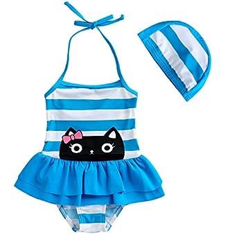 Amazon.com: Toddler Baby Girls Swimsuit Lovely Cat Stripe