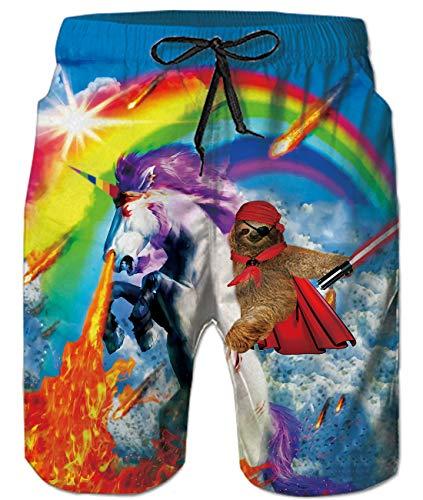 Idgreatim Men's Bathing Suit 3D Rainbow Unicorn Printing Swimming Trunks Summer Beach Board Shorts for Holiday L