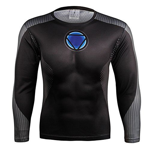 HOCOOL Compression Long Sleeve Sport Fitness Shirt Iron Mens Costume Tee 2XL ()