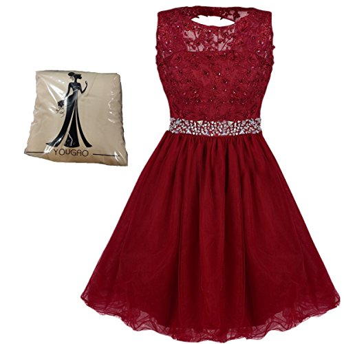 Yougao Women's Tulle Short Applique Beading Formal Homecoming Cocktail Party Dress US 26W Burgundy