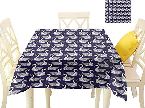 WilliamsDecor Waterproof Table Cloth Swan,Pink Waterfowls Tiaras Summer Table Cloths W 50