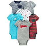 Simple Joys by Carter's Baby Boys' 6-Pack Short-Sleeve Embellished Bodysuit, Navy/Red, 3-6 Months