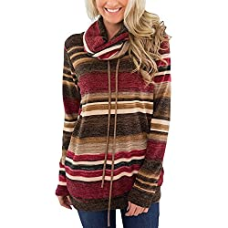 HOTAPEI Womens Tunic Sweater Winter Casual Pullover Tops Shirts Striped Printed Long Sleeve Cowl Neck Sweatshirt with Pockets Large