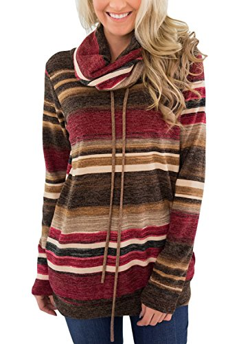 Asvivid Womens Casual Cowl Neck Color Block Striped Drawstring Sweatshirt Pullover Tunic Tops Plus Size 1X Red by Asvivid