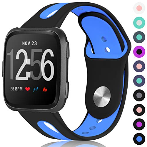 Maledan for Fitbit Versa Bands Women Men, Replacement Breathable Sport Watch Bands Accessories Strap with Stainless Steel Clasp for Fitbit Versa, Large, Black Blue
