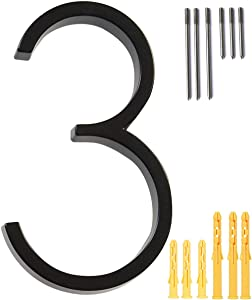 5'' Floating House Number Modern House Numbers- zinc Alloy Home Address Number with Exquisite Drawing Process-Black-Number 3
