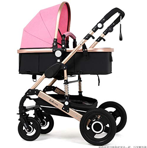 Baby Stroller Ultra Light Portable High Landscape Four Wheel Two-Way Adjustable Trolley Fast Folding Easy to Fit Suitable for 0-3 Years Old,E