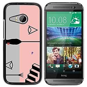 Paccase / SLIM PC / Aliminium Casa Carcasa Funda Case Cover - Pink Abstract Grey Stairs Grey Black - HTC ONE MINI 2 / M8 MINI