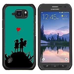 Qstar Arte & diseño plástico duro Fundas Cover Cubre Hard Case Cover para Samsung Galaxy S6Active Active G890A (Amor Guerra)