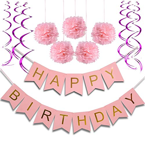 (Birthday Party Decorations for Girls and Women Kids Birthday Party Pink Happy Birthday Banner with pom pom and Spiral Garlands 1st Girls Birthday, Party Decorations)