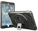 Apple iPad 2 3 4 and Retina Case - Moona Hybrid Full Body 3 Layer Armor Protective ShockProof iPad Case Cover with Hand Grip and Rotating KickStand