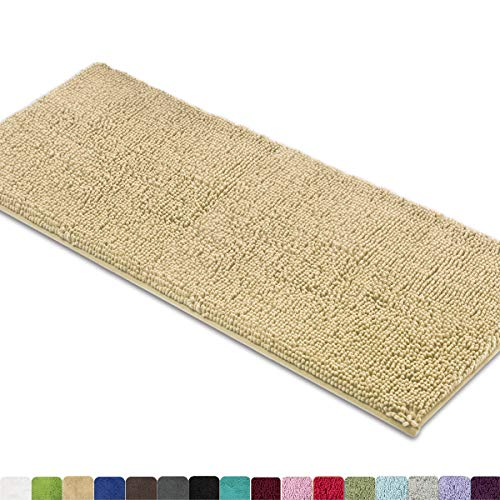MAYSHINE Non-Slip Bathroom Rug Shag Shower Mat Machine-Washable Bath mats (27.5x47 inch) with Water Absorbent Soft Microfibers of - Beige
