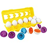 Matching Egg Set, 12PCS Color&Shape Matching Egg Set Montessori Toys For Toddlers 3D Egg Puzzle Sorter Toy Smart Egg…