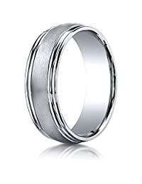 Benchmark® 7.5mm Comfort-fit Satin-finished Double Round Edge Carved Design Band