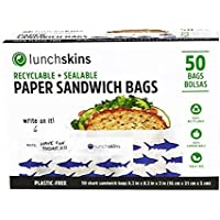 Lunchskins 100% Recyclable + Sealable Sandwich Bags, Apple (Box of 50)