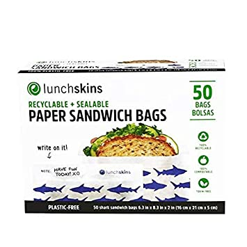 Lunchskins Recyclable + Sealable Paper Sandwich Bags, 50 count, Apple