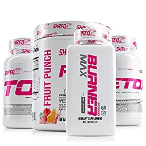 SHREDZ 30 Day Weight Loss Results Supplements Stack for Women, Clinically Tested Ingredients, Burner MAX, Toner, Detox, Pre-Workout (Fruit Punch)