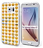 S7 Case Emoji & MUQR Bumper Rubber Gel Silicone Slim Drop Proof Protection Cover Compatible with Samsung Galaxy S7 Funny Emoji Print