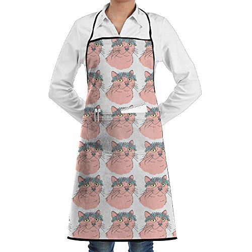 Pink Coachella Cat Festival Flower Crown Personalized Aprons Chef Apron For Women Men Girl Kids Gifts Kitchen Decorations With Pocket Picture