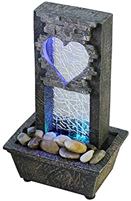 Large Crackled Glass Heart Fountain - LED Color Changing Lights -
