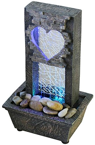 Large Crackled Glass Heart Fountain - LED Color Changing Lights (Fountain Color)