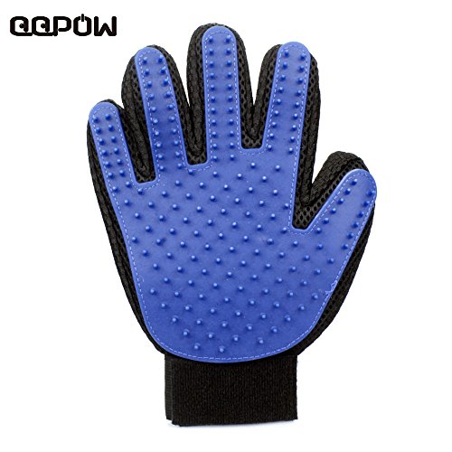 qqpow-soft-touch-pet-deshedding-glove-blue