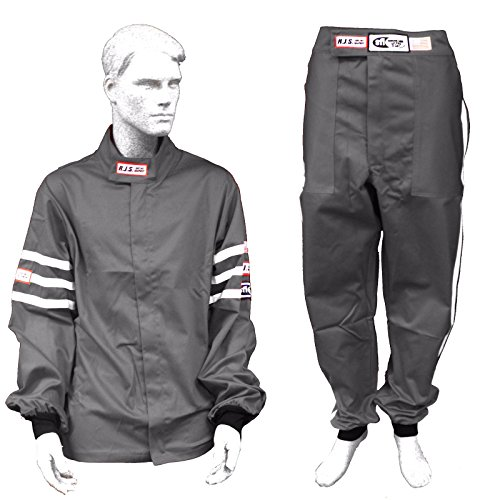 Racerdirect RJS Racing SFI 3.2A/1 Classic FIRE Suit Race Jacket & Pants Gray Size Adult XL