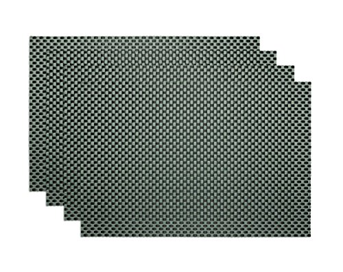- Ritz TechStyle Reversible Rectangular Woven Table Placemats, 19-inches by 13-inches, Set of 4, Charcoal Placemats