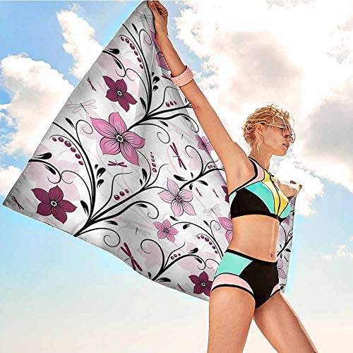 Personalized Microfiber Beach Towel for Kids Dragonfly,Shabby Chic Floral Swirled Leaves and Florets Artistic Illustration,Light Pink Dried Rose,suitable For Home,Travel,Swimming Use 32