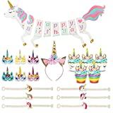 Tanlling 38Pcs Unicorn Party Supplies Set-Unicorn Happy Birthday Banner,Cupcake Toppers and Wrappers,Headband,Bracelets,Masks for Kids Party Favors Decorations and Gifts