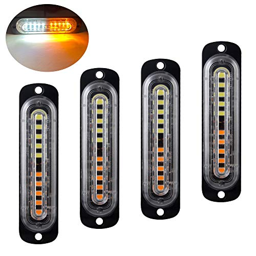 4pcs Ultra Thin 10LEDs Amber&White Emergency Hazard Flash Strobe Warning Light Bar Surface Mount for Car Vehicle Truck Trailer Caravan Camper Van Motorcycle DC 12-24V