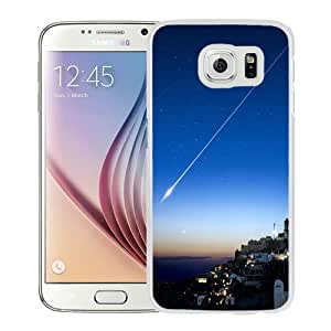 Fashionable Custom Designed Samsung Galaxy S6 Phone Case With Shooting Star Over Cliff City_White Phone Case