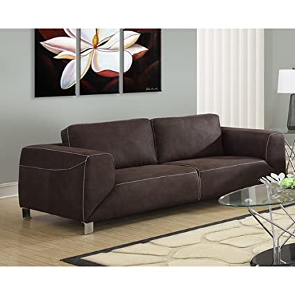 Delicieux Monarch Specialties Chocolate Brown/Tan Contrast Micro Suede Sofa