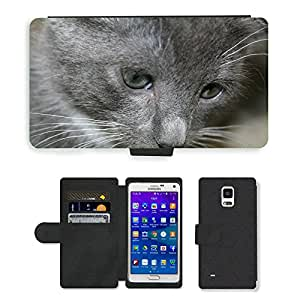 PU LEATHER case coque housse smartphone Flip bag Cover protection // M00113489 Animal Gato lindo del animal doméstico // Samsung Galaxy Note 4 IV