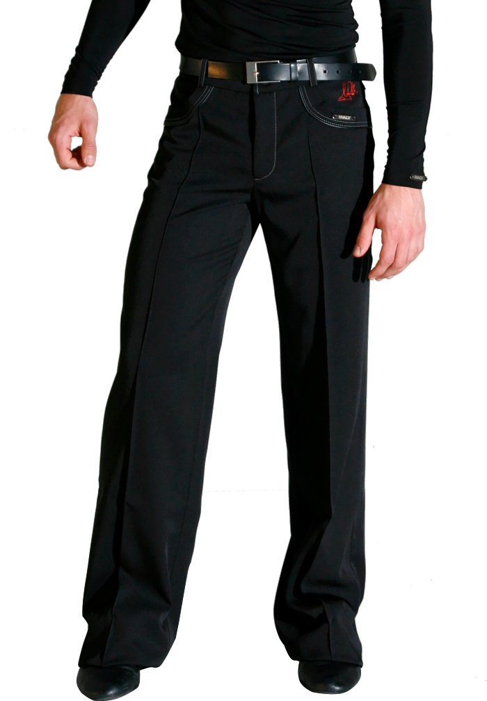 Maly Mens Fabio Selmi Trousers MF62405 for Latin Dance (Large, Black) by MALY Design
