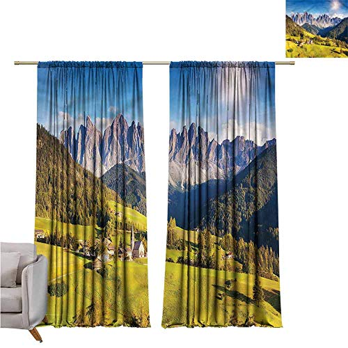 """zojihouse Mountain Thermal Insulated Blackout Curtainsnfor Bedroom Living Room Nursery 62""""x72"""""""