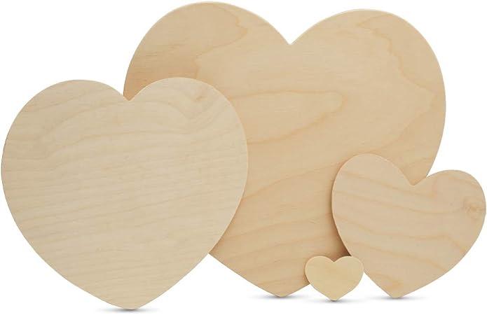 10 x M HEARTS 8cm PLAIN WOODEN SHAPES UNPAINTED  LOVE HEART WEDDING  BUNTING