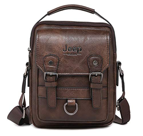 JEEP BULUO Men Messenger Bag Casual Crossbody Handbag For iPad mini(Brown)