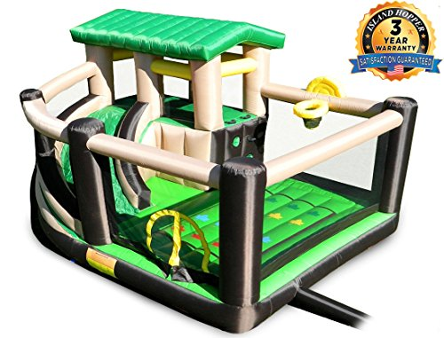 Island Hopper Fort All Sport Recreational Kids Bounce House with fort area, climbing wall, basketball, soccer shot, curved slide & twist & tangle game