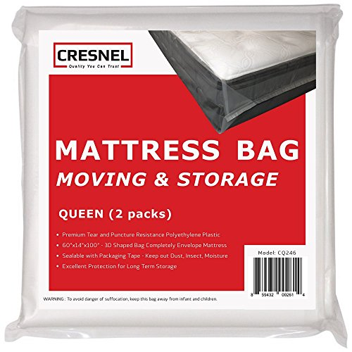 CRESNEL Mattress Bag for Moving & Long-Term Storage - Queen Size - Enhanced Mattress Protection with 5 mil Super Thick Tear & Puncture Resistance Polyethylene (Value Pack of 2pcs) (Mattress Encasement Box And Spring Sets)
