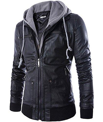 Larkon Men's Premium Pu Faux Leather Moto Biker Jacket with Detachable Hood