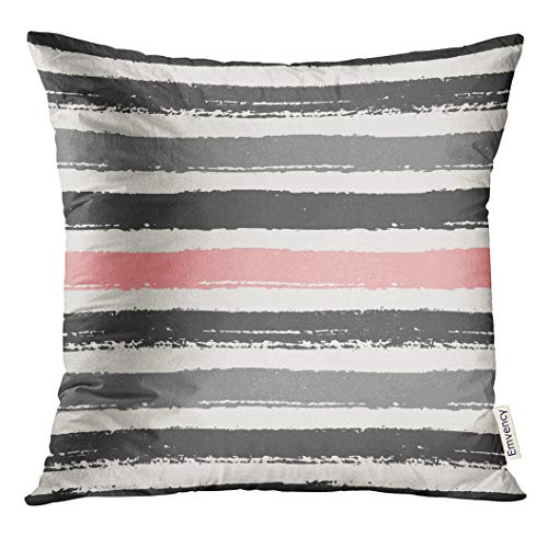 UPOOS Throw Pillow Cover Watercolor Paint Pastel Pink Light and Dark Gray Stripes Brush Strokes Cool Decorative Pillow Case Home Decor Square 18x18 Inches Pillowcase