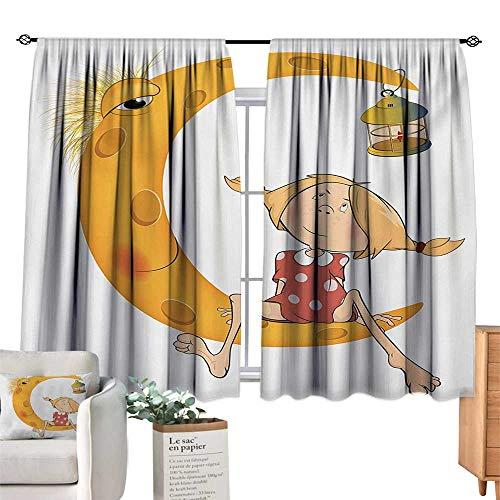 Ediyuneth Blue Curtains Teen Girls,Little Girl Sitting Barefoot Moon with Eye and Lamp Childhood Mystery Theme Cartoon,Orange 54